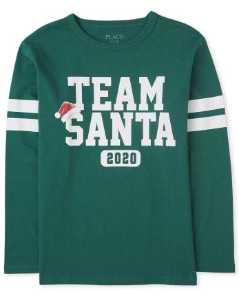 Camiseta unisex con gráfico de Santa del equipo de Navidad familiar a juego