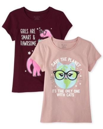 Girls Glitter Cat And Dino Graphic Tee 2-Pack