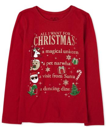 Girls Christmas Glitter List Graphic Tee