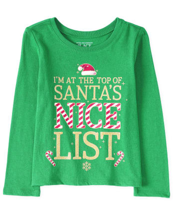 Camiseta con gráfico de lista agradable con purpurina navideña para bebés y niñas pequeñas
