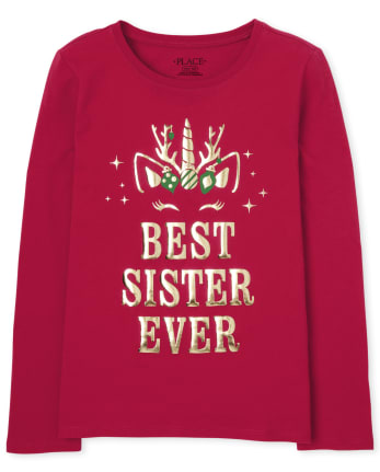 Girls Holiday Best Sister Graphic Tee