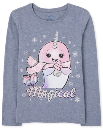 Girls Magical Narwhal Graphic Tee