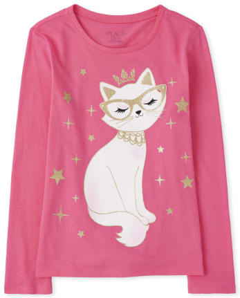 Girls Princess Cat Graphic Tee