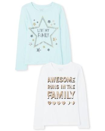 Girls Family Graphic Tee 2-Pack
