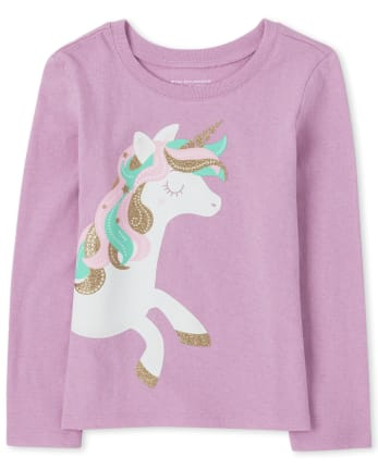 Baby And Toddler Girls Unicorn Graphic Tee
