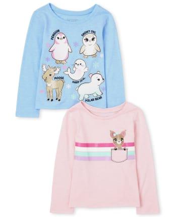 Paquete de 2 camisetas con estampado de animales para niñas pequeñas