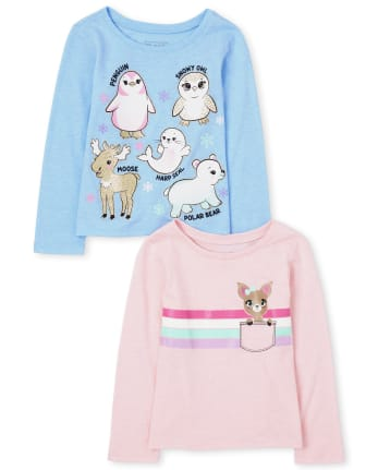 Toddler Girls Animals Graphic Tee 2-Pack