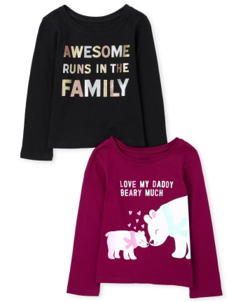 Toddler Girls Family Graphic Tee 2-Pack