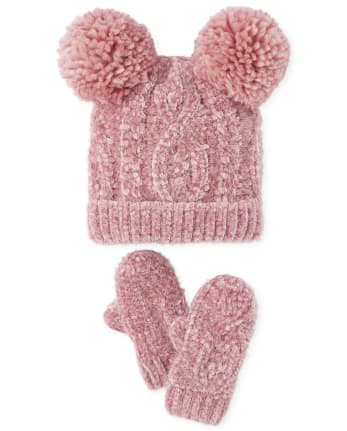 Toddler Girls Cable Knit Chenille Pom Pom Beanie And Mittens Set