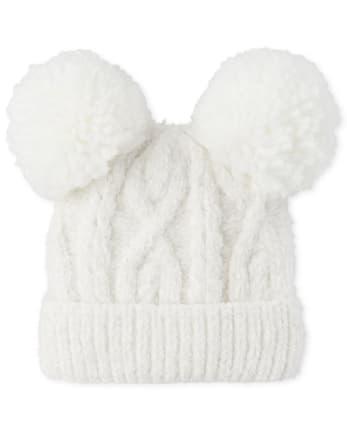 Girls Cable Knit Chenille Pom Pom Beanie