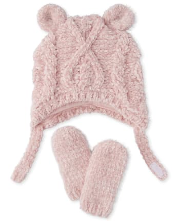 Baby Girls Cable Knit Chenille Hat And Mittens Set
