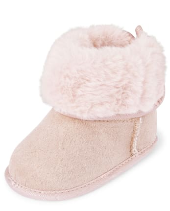 Baby Girls Faux Suede And Fur Boots