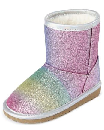 Botas de arcoíris con purpurina para niñas pequeñas
