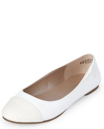 Girls Glitter Toe Ballet Flats