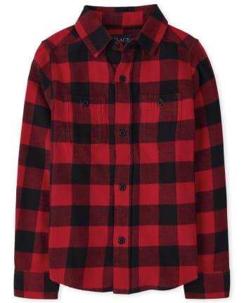 Boys Buffalo Plaid Flannel Button Down Shirt
