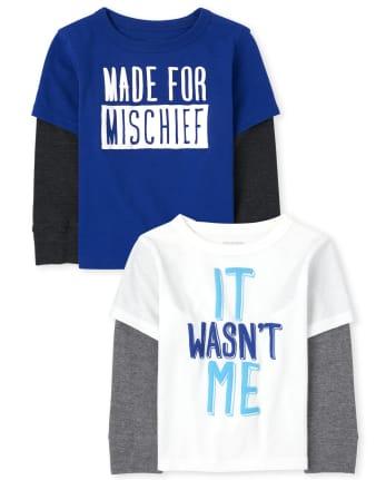 Paquete de 2 camisetas térmicas 2 en 1 para niños pequeños Mischief