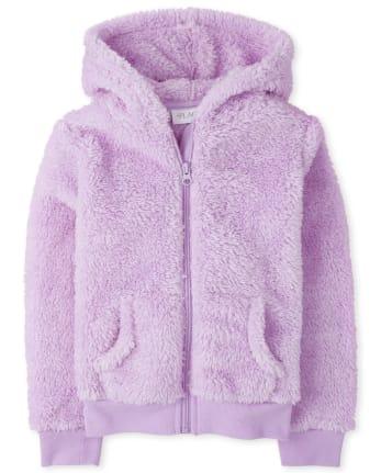 Sudadera con capucha y cremallera de piel sintética brillante para niñas