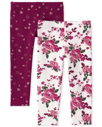 Toddler Girls Floral Glitter Leggings 2-Pack
