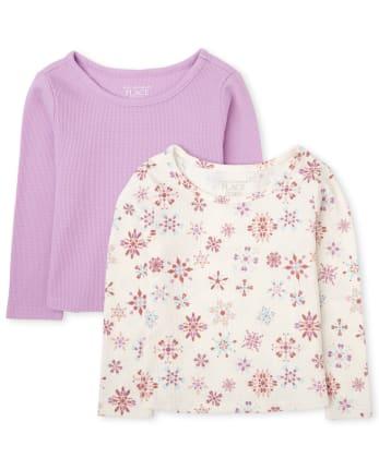 Toddler Girls Snowflake Thermal Top 2-Pack