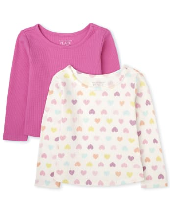 Toddler Girls Rainbow Star Thermal Top 2-Pack