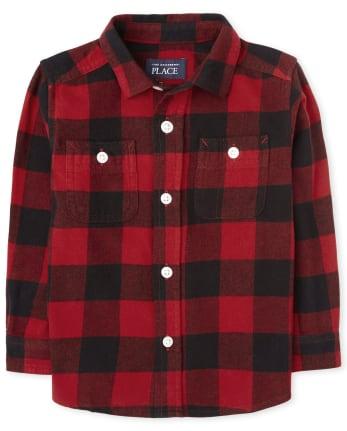 Toddler Boys Buffalo Plaid Flannel Button Down Shirt