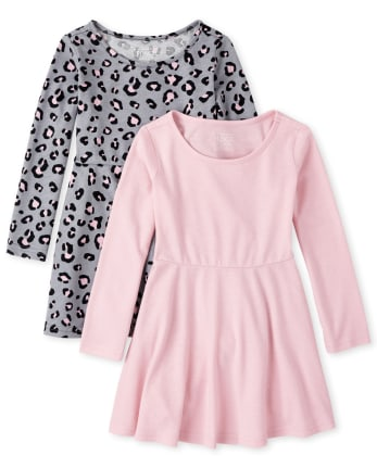 Paquete de 2 vestidos skater de leopardo para niñas pequeñas