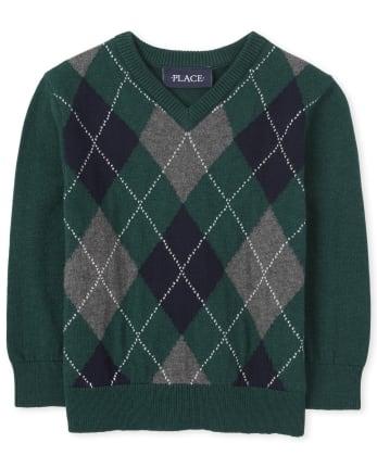 Suéter con cuello en V de argyle para niños pequeños