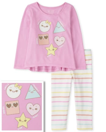 Toddler Girls Shapes And Striped Outfit Set