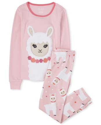 Girls Llama Snug Fit Cotton Pajamas