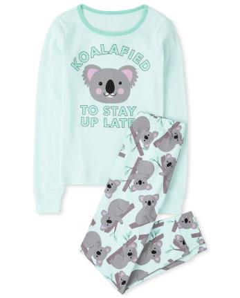 Girls Koala Snug Fit Cotton Pajamas