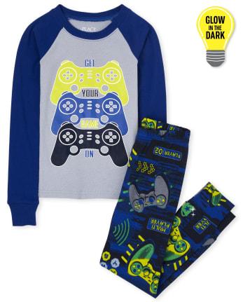 Boys Glow Video Game Snug Fit Cotton Pajamas