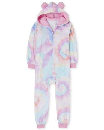 Girls Tie Dye Fleece One Piece Pajamas