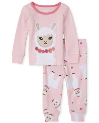 Baby And Toddler Girls Llama Snug Fit Cotton Pajamas
