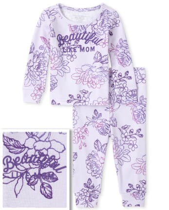 Baby And Toddler Girls Mommy And Me Beautiful Matching Snug Fit Cotton Pajamas