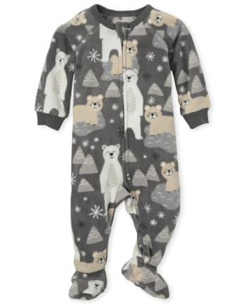 Pijama de una pieza de lana con oso polar para bebés y niños pequeños