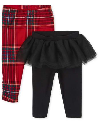 Baby Girls Tartan Pants 2-Pack