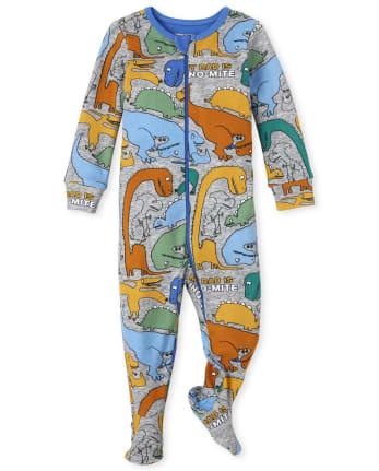 Pijama de una pieza de algodón con ajuste ceñido Dino para bebés y niños pequeños