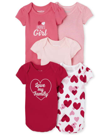 Baby Girls Valentine's Day Bodysuit 5-Pack