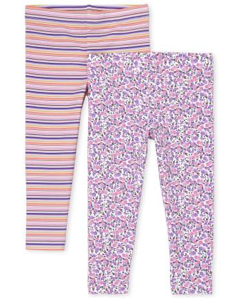 Toddler Girls Rainbow Unicorn Leggings 2-Pack
