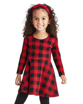 Baby And Toddler Girls Buffalo Plaid Skater Dress