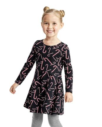 Vestido skater con bastón de caramelo para bebés y niñas pequeñas