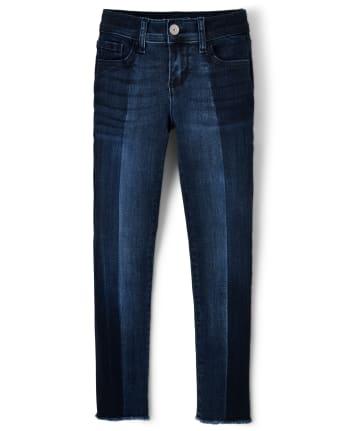 Girls Two Tone Frayed Hem Super Skinny Jeans