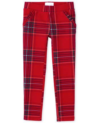 Girls Tartan Ponte Knit Pull On Jeggings