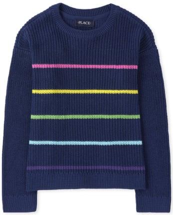 Girls Rainbow Striped Sweaters