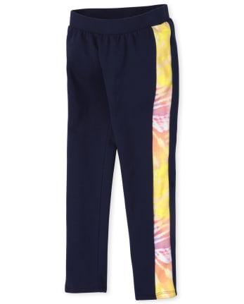 Girls Rainbow Cozy Side Stripe Leggings