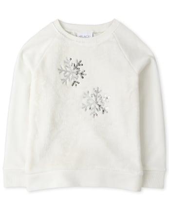 Girls Active Snowflake Faux Fur Sweatshirt