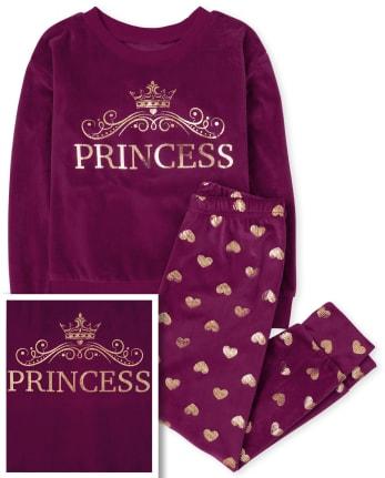 Girls Mommy And Me Princess Velour Matching Pajamas