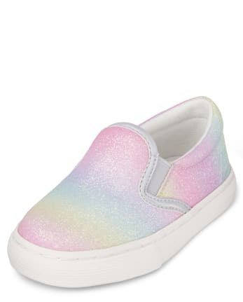 Toddler Girls Glitter Rainbow Ombre Slip On Sneakers