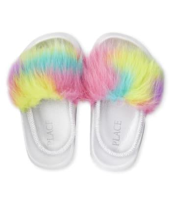Chanclas de piel sintética arcoíris para niñas pequeñas