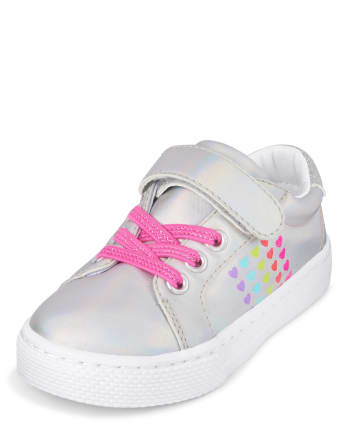 Toddler Girls Glitter Rainbow Hearts Low Top Sneakers